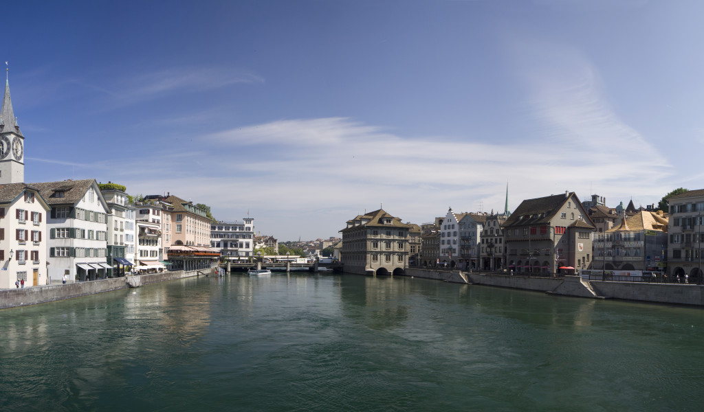 Part of a series of panoramic views of Zürich in Switzerland